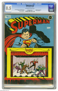 Superman #22 (DC, 1943) CGC VF+ 8.5 Off-white to white pages. One of the more innovative early Superman covers is this m...