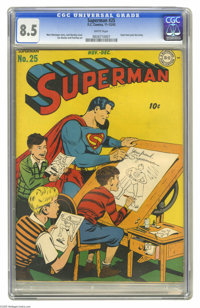 Superman #25 (DC, 1943) CGC VF+ 8.5 White pages. Fred Ray penciled a number of Superman covers, but this issue features...