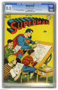 Golden Age (1938-1955):Superhero, Superman #25 (DC, 1943) CGC VF+ 8.5 Off-white to white pages. This issue features two of DC's stellar artists, Jack Burnley ...