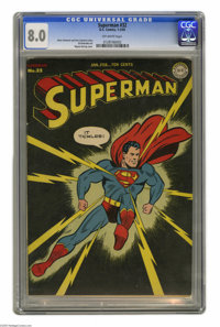 Superman #32 (DC, 1945) CGC VF 8.0 Off-white pages. Wayne Boring's cover for this issue makes it a collector's favorite...