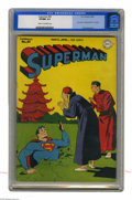 """Golden Age (1938-1955):Superhero, Superman #45 (DC, 1947) CGC VF/NM 9.0 Cream to off-white pages. """"Dig"""" this crazy cover by the master of whimsy, Jack Burnley..."""