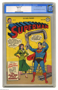 Superman #75 (DC, 1952) CGC NM 9.4 Off-white pages. Lois Lane makes a cover appearance here, with Al Plastino drawing he...