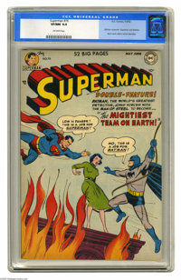 Superman #76 (DC, 1952) CGC VF/NM 9.0 Off-white pages. In this key issue, Batman and Superman learn each other's secret...