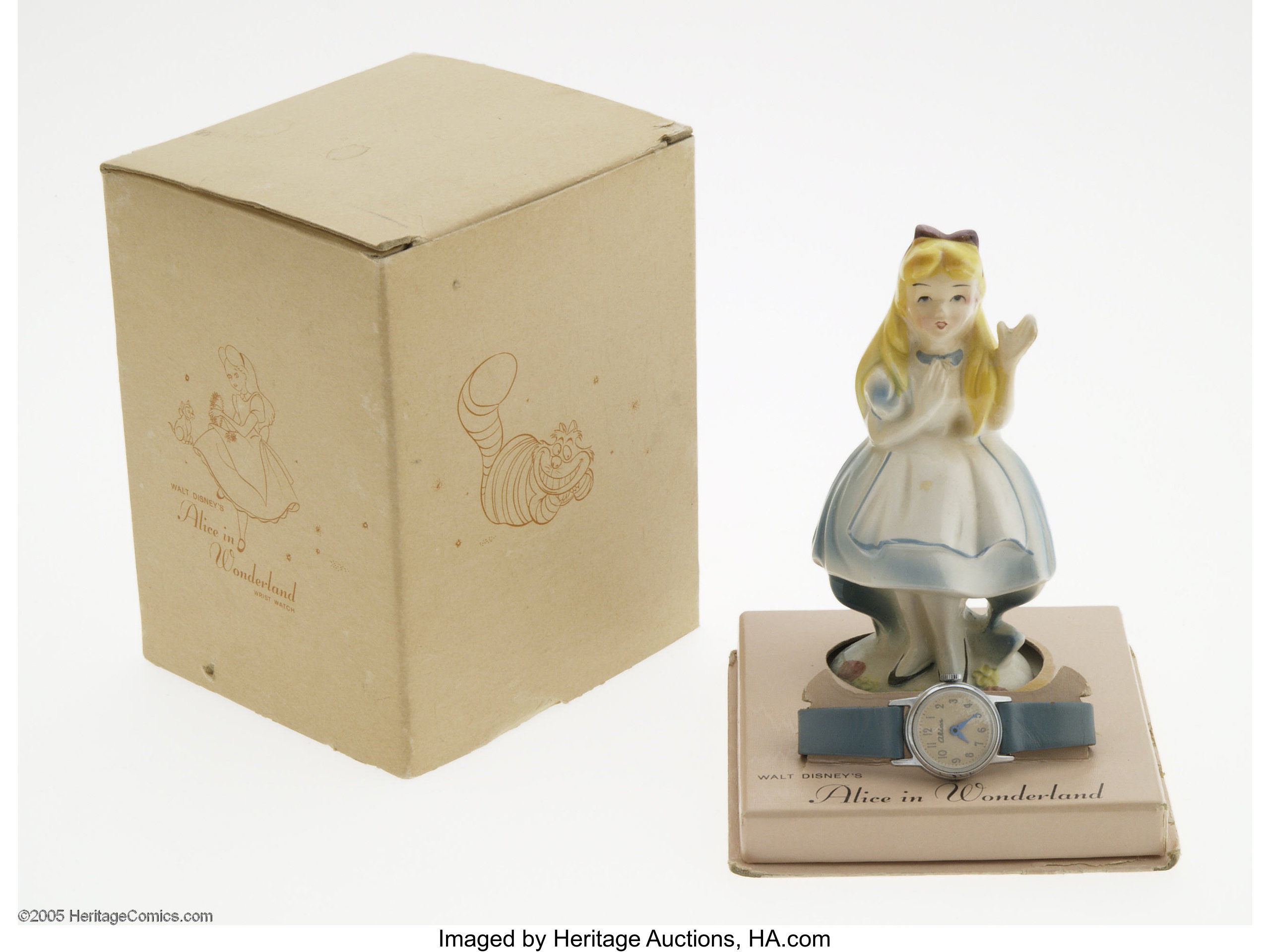Alice in Wonderland Wrist Watch with Porcelain Figurine and Box