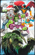 Original Comic Art:Splash Pages, Simon Bisley Fear Itself: Fearsome Four #1 Splash Page 20Painting Man-Thing, Howard the Duck, and Others Original...