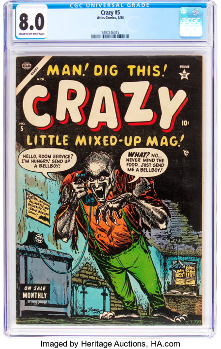 Crazy #5 (Atlas, 1954) CGC VF 8.0 Cream to off-white pages....