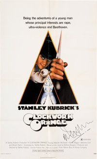 Malcolm McDowell Signed One-Sheet Film Poster from A Clockwork Orange (Warner Bros., 1971).<