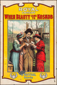 """When Beauty Came to Kobskob (Mutual, 1915). One Sheet (28.25"""" X 41.75""""). Comedy"""