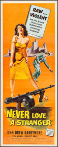 "Movie Posters:Crime, Never Love a Stranger (Allied Artists, 1958). Insert (14"" X 36"").Crime.. ..."