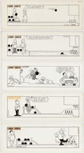 Fred Thomas Long Shots Daily Bowling-Related Comic Strip Original Art Group of 2 Comic Art