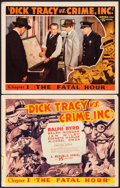 "Movie Posters:Serial, Dick Tracy vs. Crime Inc. (Republic, 1941). Title Lobby Card &Lobby Card (11"" X 14"") Chapter 1 -- ""The Fatal Hour."" ..."