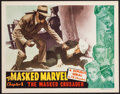 "Movie Posters:Serial, The Masked Marvel (Republic, 1943). Lobby Card (11"" X 14"") Chapter1 -- ""The Masked Crusader."" Serial.. ..."