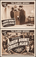 """Movie Posters:Serial, The Green Hornet Strikes Again (Universal, 1941). Title Lobby Card& Lobby Card (11"""" X 14""""). Chapter 13 -- """"The Flaming Infe...(Total: 2 Items)"""