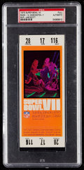 Football Collectibles:Tickets, 1973 Super Bowl VII Full Ticket PSA Authentic - Undefeated Miami Dolphins....