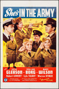 """Movie Posters:Comedy, She's in the Army (Monogram, 1942). One Sheet (27"""" X 41""""). Comedy....."""