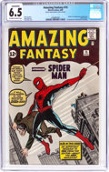 Silver Age (1956-1969):Superhero, Amazing Fantasy #15 (Marvel, 1962) CGC Conserved FN+ 6.5 Off-whiteto white pages....