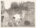 Fine Art - Work on Paper:Print, Bruce McCombs (b. 1943). Avenue, 1975. Etching and aquatint on paper. 21-5/8 x 27-7/8 inches (54.9 x 70.8 cm) (image). 2...