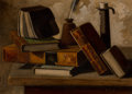 , John Frederick Peto (American, 1854-1907). Still Life withBooks, Inkpot, and Candlestick. Oil on canvas. 10-1/4 x14-1/...