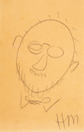 Works on Paper, Henri Matisse (1869-1954). Self-Portrait Sketch, 1939. Pencil on paper. 8-1/8 x 5-1/4 inches (20.6 x 13.3 cm). Initialed...