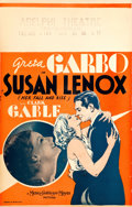 """Movie Posters:Drama, Susan Lenox (Her Fall and Rise) (MGM, 1931). Window Card (14"""" X22"""").. ..."""