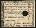 Colonial Notes:Massachusetts, Signed by Loammi Baldwin Massachusetts May 5, 1780 $8 Hole CancelNew.. ...