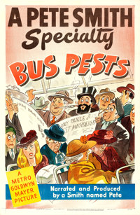 """A Pete Smith Specialty (MGM, 1953). One Sheet (27"""" X 41"""") """"Bus Pests."""""""