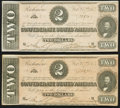 Confederate Notes:1864 Issues, T70 $2 1864. Consecutive Pair with Paper Color Change.. ... (Total: 2 notes)