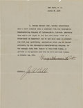 """Baseball Collectibles:Others, 1927 George Herman Ruth Signed """"Babe Ruth Underwear"""" Endorsement Contract.. ..."""