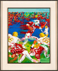 "Football Collectibles:Others, 1974 Johnny Rodgers & the Nebraska Cornhuskers ""Breakaway"" Original Painting by LeRoy Neiman.. ..."