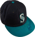 Baseball Collectibles:Hats, 1993-94 Ken Griffey Jr. Game Worn Signed Cap with Player Letter....