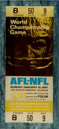 Football Collectibles:Tickets, 1967 Super Bowl I Full Ticket (In Lucite) - From Collection of Rozelle's Assistant! ...