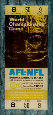 1967 Super Bowl I Full Ticket (In Lucite) - From Collection of Rozelle's Assistant!