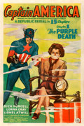 "Movie Posters:Serial, Captain America (Republic, 1944). One Sheet (27"" X 41"") Chapter 1 -- ""The Purple Death."". ..."