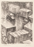 Fine Art - Work on Paper:Print, James Penney (1910-1982). Cross Town Street-Trucks in the Rain, 1935. Lithograph on paper. 13-1/2 x 10-3/8 inches (34.3 ...