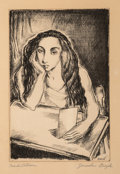 Fine Art - Work on Paper:Print, Jaroslav Brozik (1904-1986). Meditation, n.d.. Lithograph on Rives paper. 9-3/8 x 6-1/8 inches (23.8 x 15.6 cm) (image)...