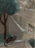 Other, Peggy Bacon (American, 1895-1987). The Cat that Jumped Out of the Stor by Ben Hecht interior illustration, 1947. Pastel ...