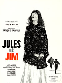 """Jules and Jim (Les Films du Carrosse, 1961). French Moyenne (23.5"""" X 31.5""""). Christian Broutin Artwork"""