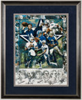 Football Collectibles:Others, Dallas Cowboys Quarterbacks Multi-Signed Lithograph (6 Signatures).. ...