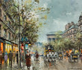 Paintings, Antoine Blanchard (French, 1910-1988). Boulevard de la Madeleine, Paris. Oil on canvas. 18 x 21-1/2 inches (45.7 x 54.6 ...