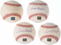 Autographs:Baseballs, 2001 Topps Archives Reserve Single Signed Baseball Lot of 4.. ...(Total: 4 items)