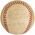Autographs:Baseballs, 1957 Pittsburgh Pirates Team Signed Baseball (19 Signatures) with Roberto Clemente.. ...