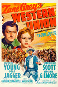 "Movie Posters:Western, Western Union (20th Century Fox, 1941). One Sheet (27"" X 41"") Style B.. ..."