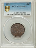 1835 1/2 C MS63 Brown PCGS Secure. PCGS Population: (162/167). NGC Census: (128/172). CDN: $370 Whsle. Bid for problem-f...