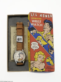 Li'l Abner Animated Wrist Watch in Box - Donkey Version (The New Haven Clock and Watch Co., 1951). This is the donkey ve...