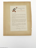 Memorabilia:Miscellaneous, Mickey Mouse Letter to Watch Contestants (Walt Disney/New Haven Dairy, 1933-1935) Condition: VG+. During the years 1933-1935...