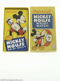 """Memorabilia:Miscellaneous, Mickey Mouse Wrist Watch with Box (Ingersoll, c. 1946-47). This Mickey Mouse wrist watch is marked on the back """"US Time"""" and..."""