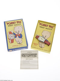 Porky Pig Wrist Watch with Box (Ingraham Co., 1949). Here is another of those harder to find character watches. A P-P-Po...