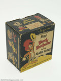 """Memorabilia:Comic-Related, Woody Woodpecker Spring Alarm Clock (Columbia Time Products, 1959). What a neat piece! This clock has 4"""" diameter face with ..."""