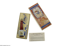 "Woody Woodpecker Wrist Watch in Box (Ingraham, 1950). This fabulous Woody watch, measuring 1.5"" x 1.25"", looks..."