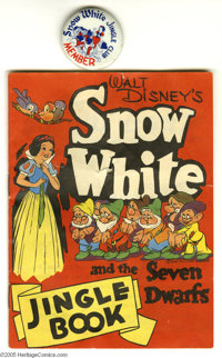 Snow White and the Seven Dwarfs Jingle Book and Pinback Button (Hagstrom's Stores, c. 1939). This promotional set for Ha...